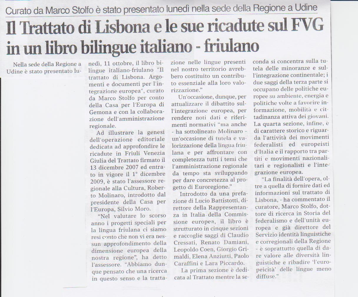 Il Trattato di Lisbona e le sue ricadute - ottobre 2010