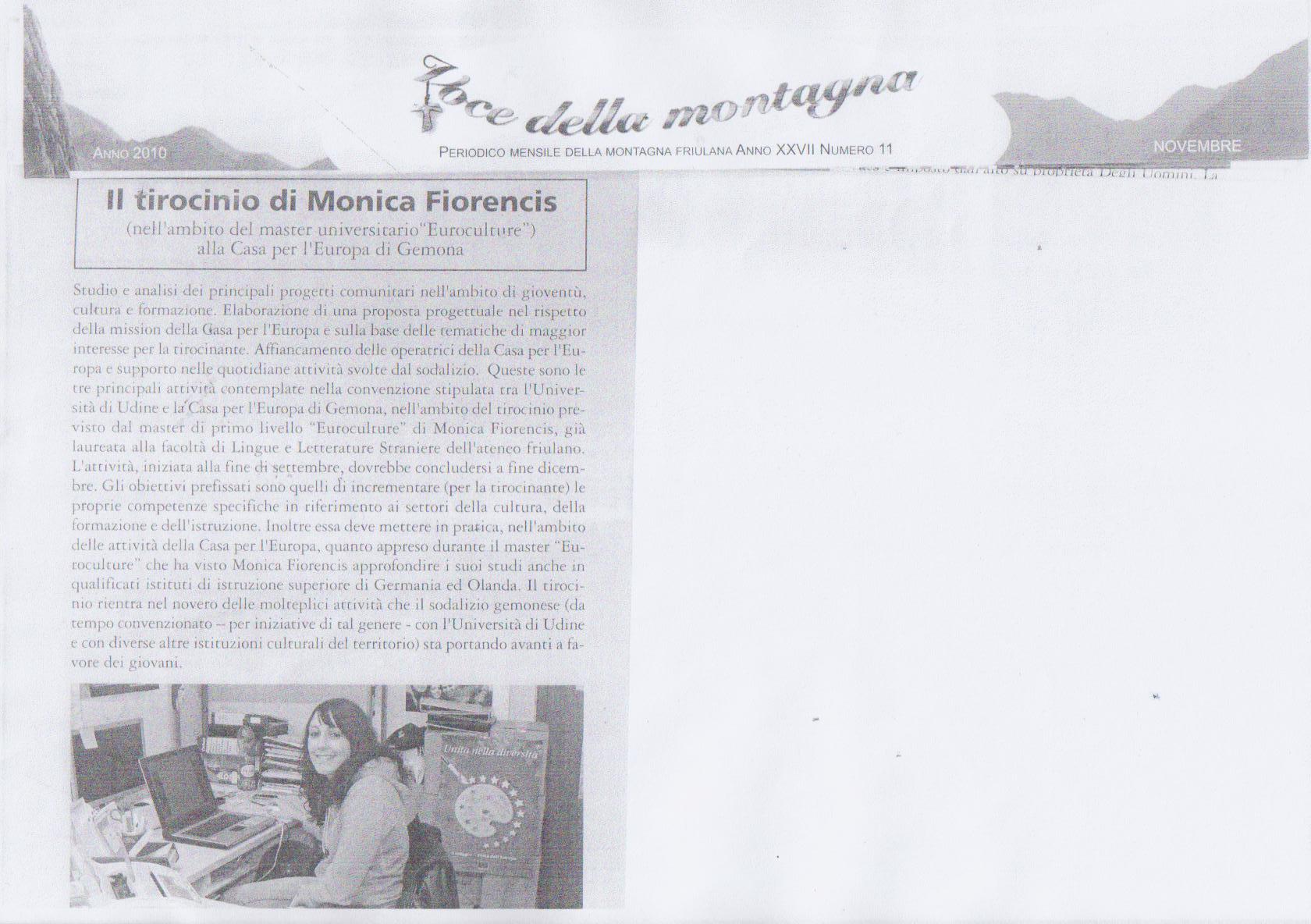 Il tirocinio di Monica Fiorencis - novembre 2010
