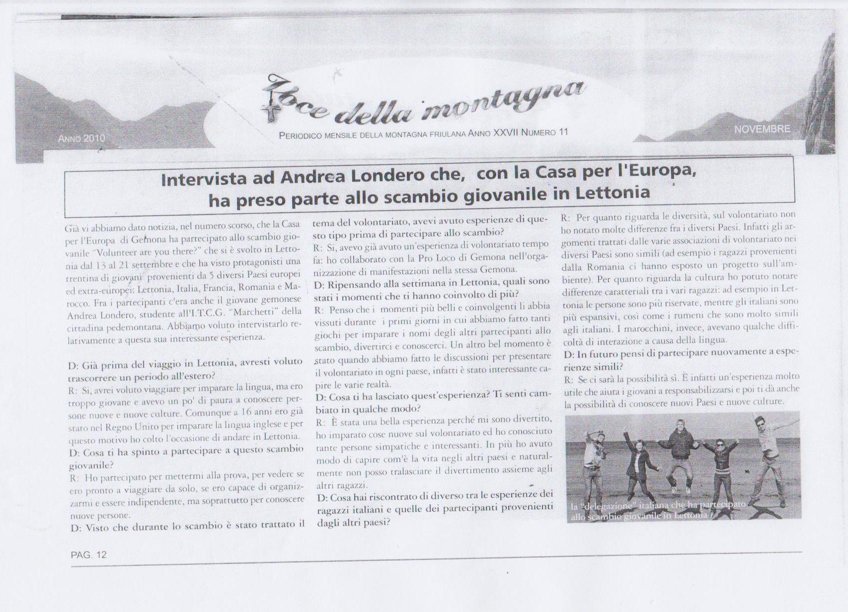 Intervista ad Andrea Londero - Novembre 2010