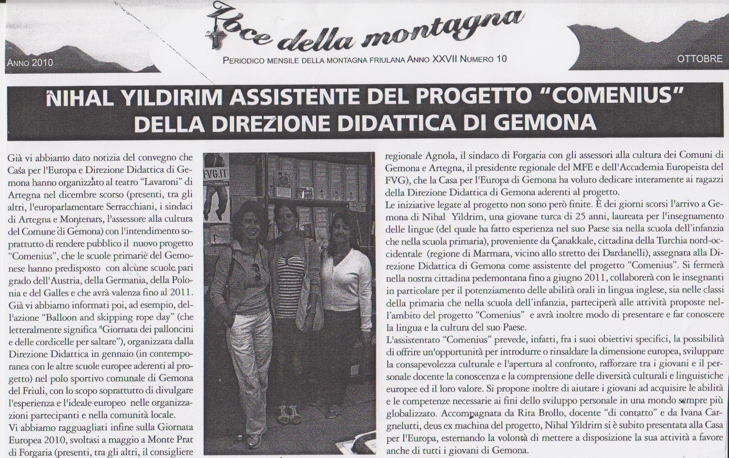 assistente progetto comenius v.d.m. ottobre 2010