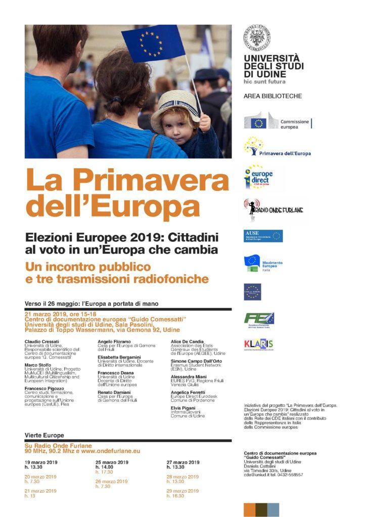 """La Casa per l'Europa di Gemona interviene al convegno """"La Primavera dell'Europa"""" con due relatori: Angelo Floramo e Renato Damiani"""